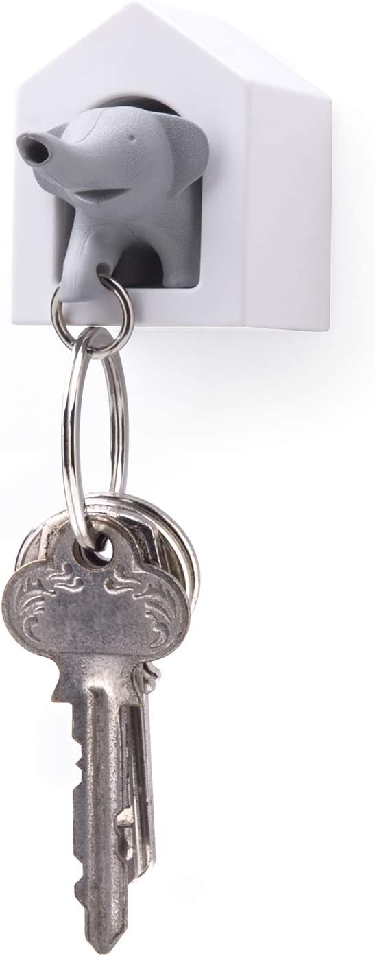 Elephant Wall Key Holder by Qualy Design Studio. White Color Elephant Home and Grey Elephant Key Fob. Cool Home Design Item. Unusual Gift.