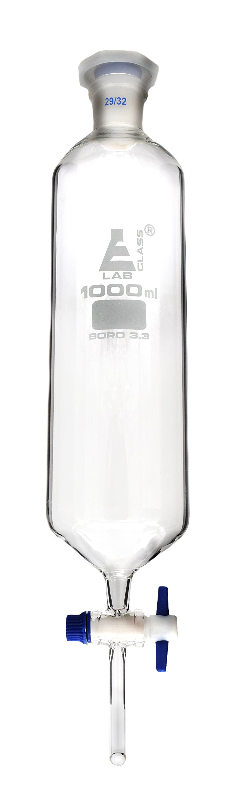 Dropping Funnel, 1000ml, Cylindrical - includes Interchangeable Plastic Stopper, Socket Size 23/32, with PTFE Key Stopcock - Borosilicate Glass - Eisco Labs