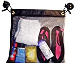 Shower Bag Tote, Mesh Caddy, Dorm Gym Toiletry Organizer with 2 Suction Cups, Quick Dry, Black, 16'' X 17'' - Extra Large Heavy Duty - Made in USA