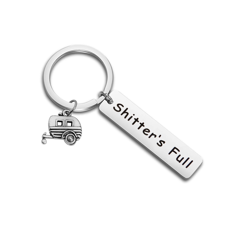 Shitter's Full Camper Keychain Happy Camper RV Keychain Camping Keychain Trailer Vacation Jewelry (Keychain)