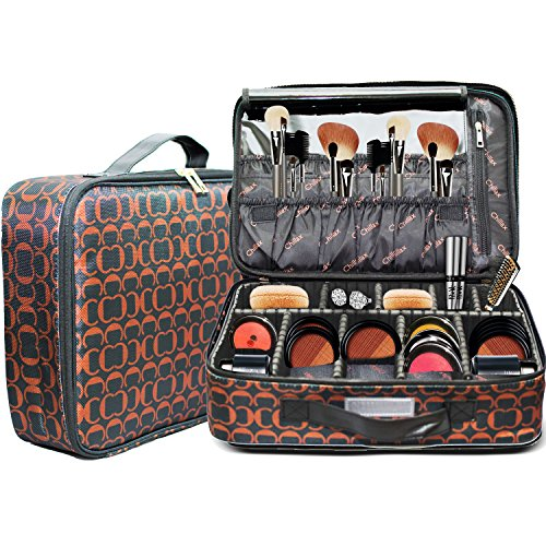 Makeup Bag with Brush Holder Large Compartments Professional