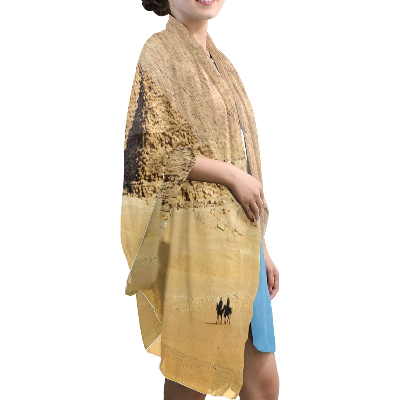 MRMIAN Blue Brown Design-6 Casual Long Lightweight Silk Chiffon Scarf Wrap