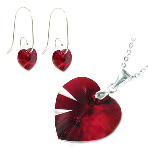 Sterling Silber Rot Swarovski Elements Kristall Herz Ohrringe Anhänger Halskette Set, 40,6cm + 5,1cm Extender