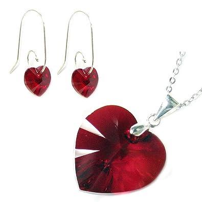 Siam Red Swarovski Elements Crystal Love Heart Sterling Silver Swirl Hook Dangle Earrings RJn2lx