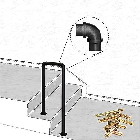 ZzJj - Barandilla de transición de Hierro Forjado de 75 cm, barandilla picket-1fits 2 escalones Barandilla de Escalera Negra Mate, barandilla Exterior, con Kit de Montaje para un fácil Montaje: Amazon.es: Hogar