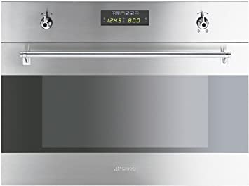 Smeg - Horno + Microondas Indep. S45Mx2, 34L, Multifuncion, Inox Antihuellas,