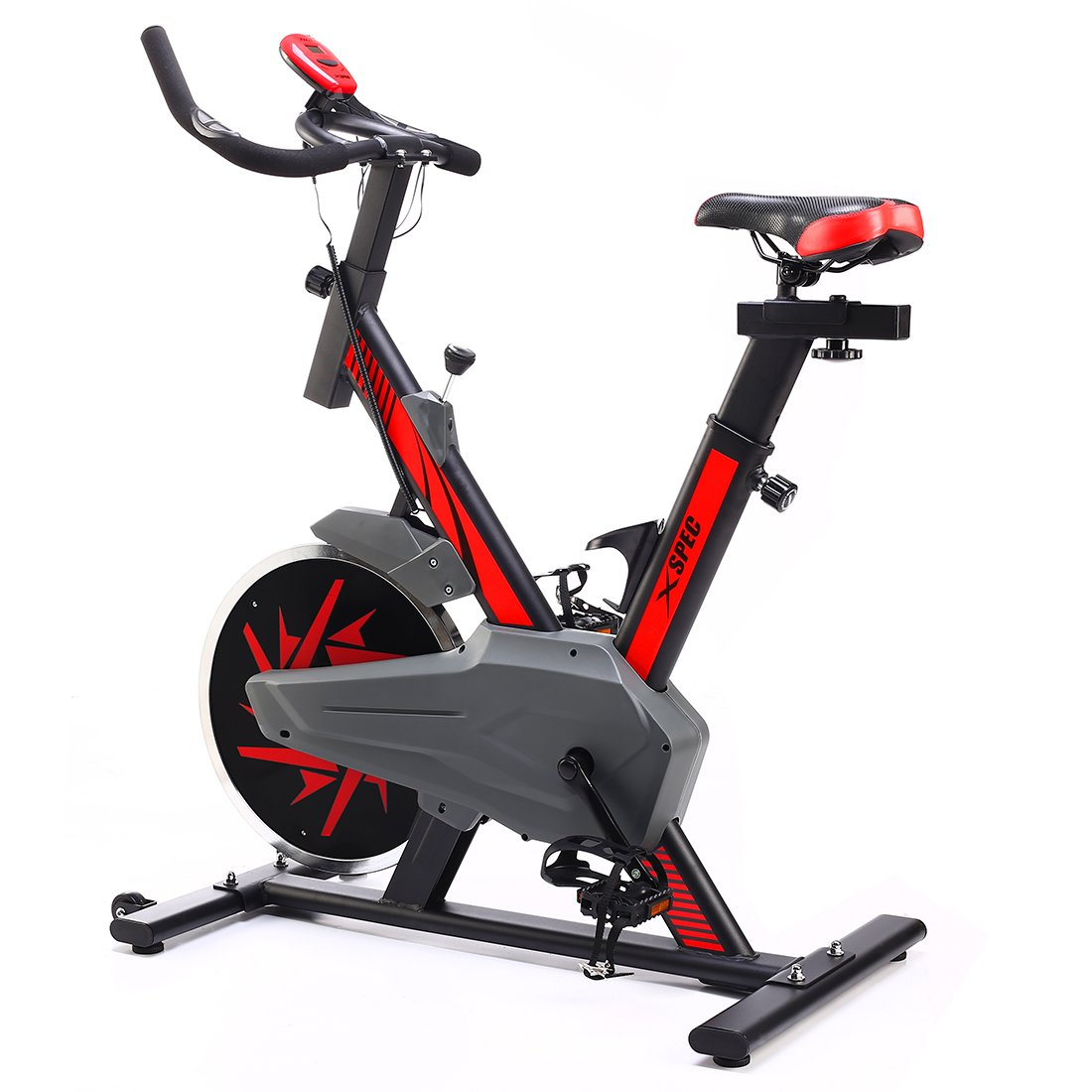 Xspec Pro Stationary Upright Red Exercise Cycling Bike w/ 25 LB Flywheel, Heart Pulse Sensors, Indoor Cardio Fitness Cycling Machine Gym Workout Training Stationary Bike