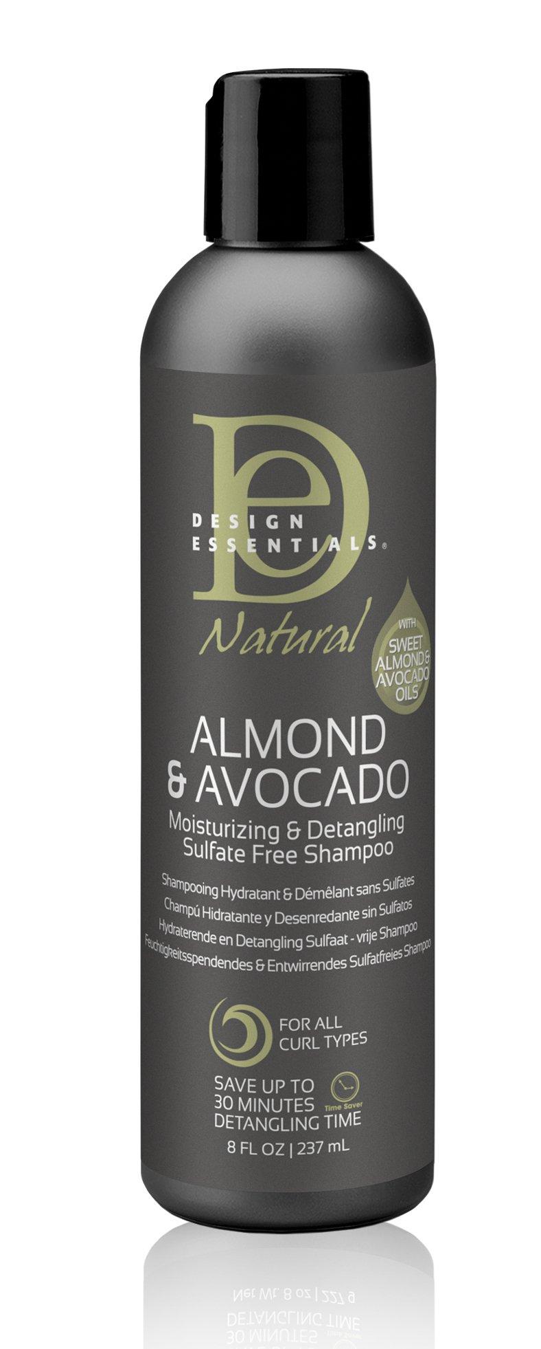 Design Essentials Natural Super Moisturizing & Detangling Sulfate- Free Shampoo- Almond & Avocado Collection 8oz.