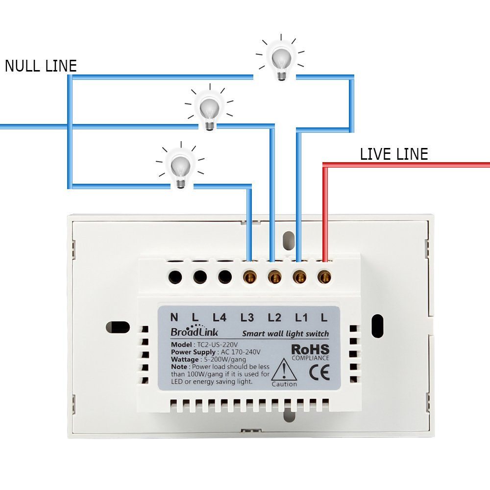 220v Wall Switch Wire Diagram Detailed Schematics 220 Wiring Smart Light Broadlink 3 Gang Touch Panel Wi Fi Plug