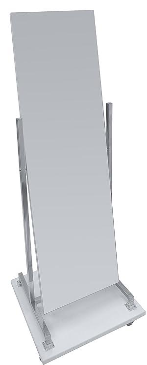 Standspiegel Rollspiegel Mit Holzsockel Schwenk Und Rollbar