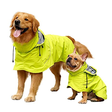 6a92d5a89012 Due Felice Dogs Rain Jacket Pets Lightweight Raincoat Ajustable Waterproof  Clothes Poncho Hoodies with Strip Reflective