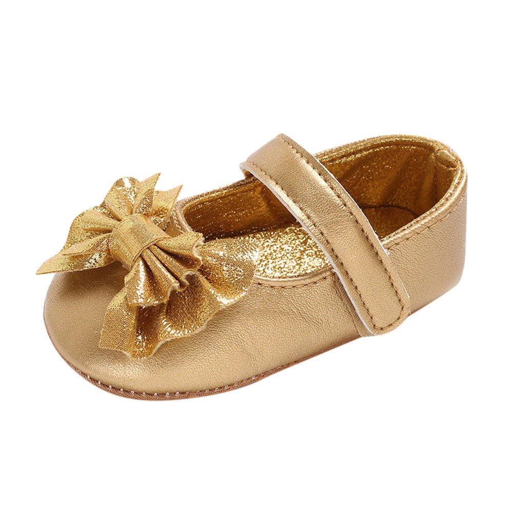UCQueen Infant Newborn Baby Baby Girls Shoes Bow Soft Crib Anti-Slip Single Shoes
