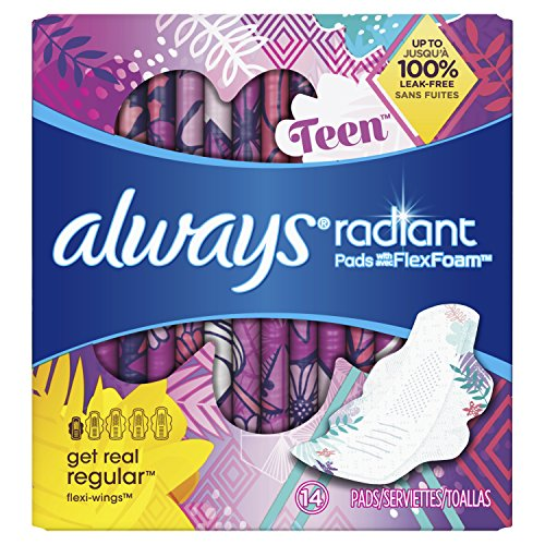 Always Radiant Teen Pads, 14 Count, Unscented, Get Real Regular