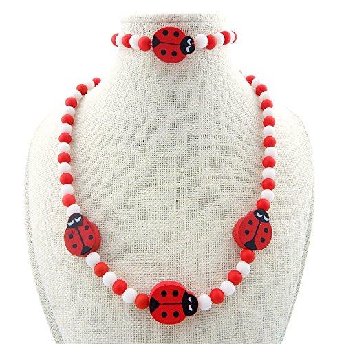 Unijew Kid Jewelry Set for Girls red Ladybug Necklace Bracelet for Girls for Kids Birthday Gift ()