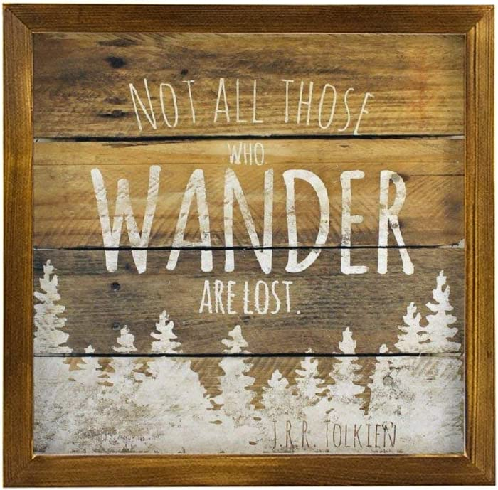 Generic Brands Rustic Pallet Wall Art Not All Those Who Wander are Lost JRR Tolkien Quote Wall Decor Signs with Inspirational Quotes Rustic Wood Framed Modern Farmhouse Wall Hanging Art 12x12 inch