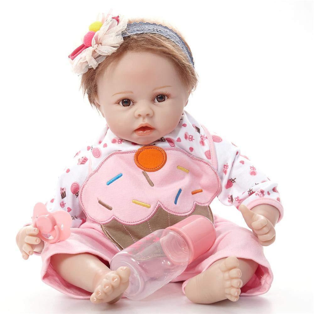 Hongge Reborn Baby Doll,Realista recién Silicona bebé Reborn muñeca Realista bebé Renacimiento muñeca de Navidad 55cm