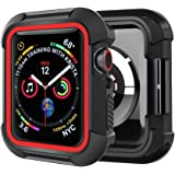 Humenn Case Compatible with Apple Watch Series 5 Series 4 44mm, Rugged Protective Case Shockproof Protector Bumper Cover for iWatch Series 4, 5 HMS1908003