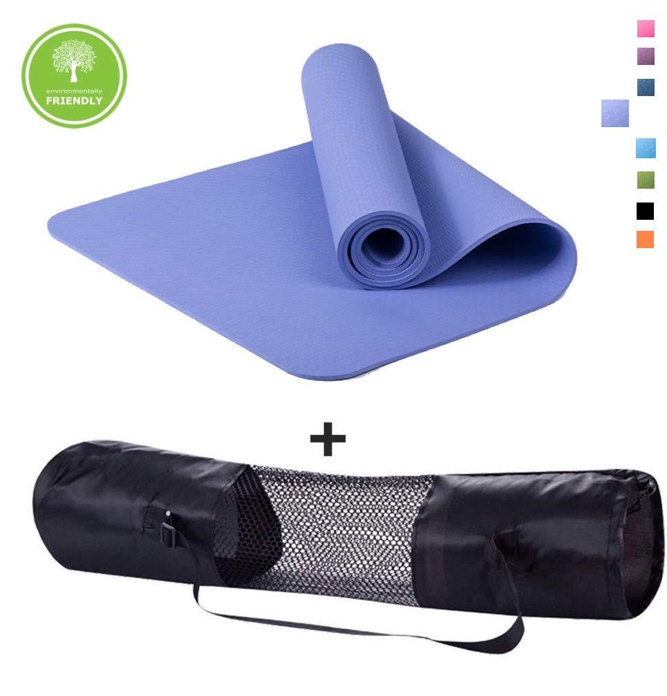 Polly House Eco-Friendly 100 TPE High Density Exercise Yoga Mat for Pilates, Extra Thick 8mm, Free Quality Carrying Bag, Excellent Cushion, Anti-Skid and Light-Weight, Size 72 X24