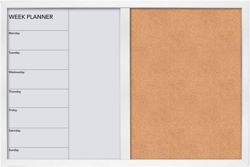 LIANGJUN Pizarra Tablero Mensaje Recordatorios Calendario Semanal Magnético Pizarra Tablero De Corcho Multifuncional Foto Fácil De Borrar, 3 Colores (Color : A, Tamaño : 60x2.1x40cm): Amazon.es: Hogar