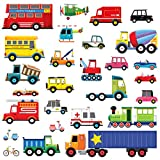 Decowall DW-1605 27 Transports Kids Wall Stickers Wall Decals Peel and Stick Removable Wall Stickers for Kids Nursery Bedroom Living Room