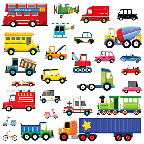 Decowall DW-1605 27 Transports Kids Wall Stickers Wall Decals Peel and Stick Removable Wall Stickers for Kids Nursery Bedroom Living ()