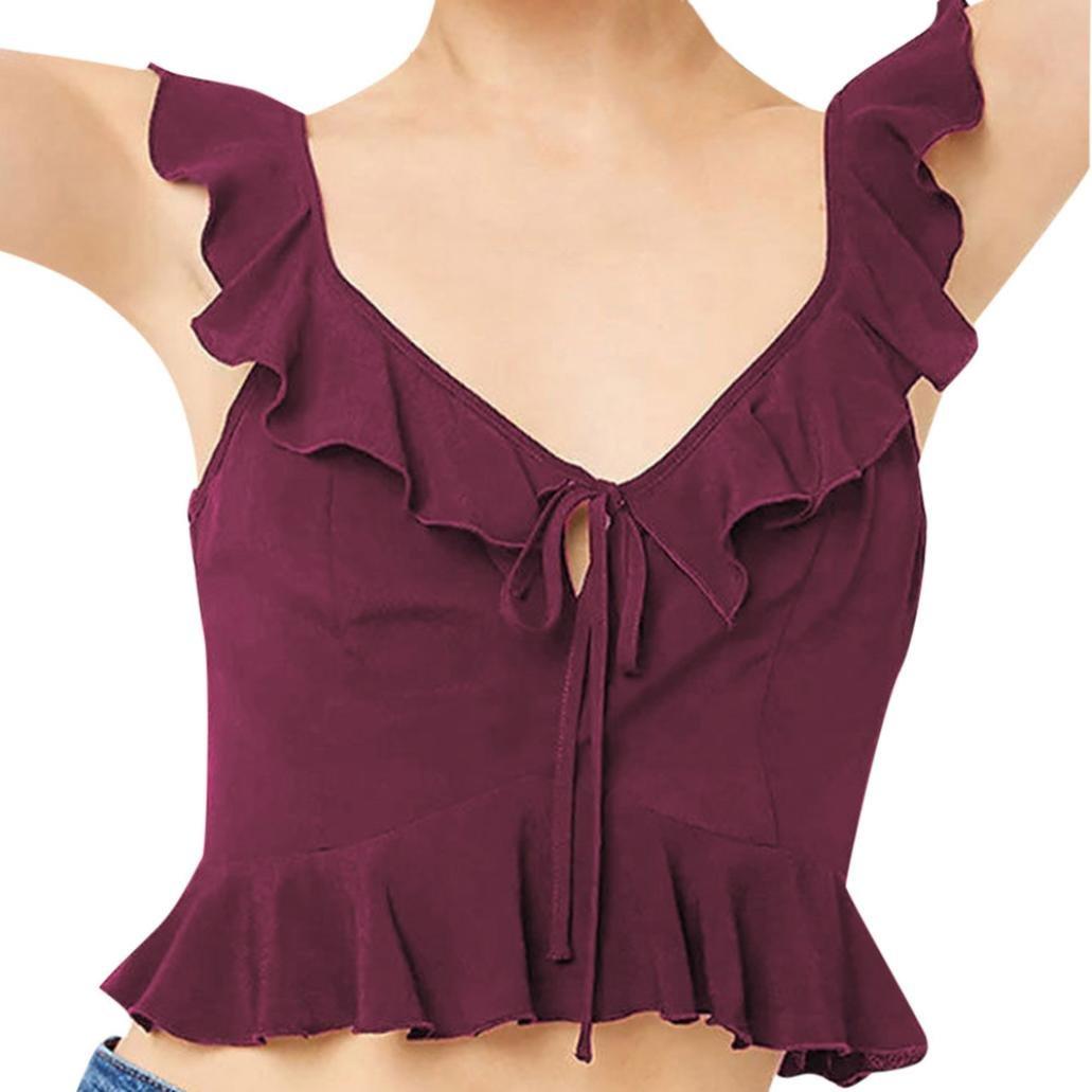 TPulling Damen Riemchen Top, Frauen V-Ausschnitt Rückenfrei Riemchen Kurzarm  Weste Lässige T-Shirt Lose Camisole Tank Tops Bluse Shirt aef8766b75