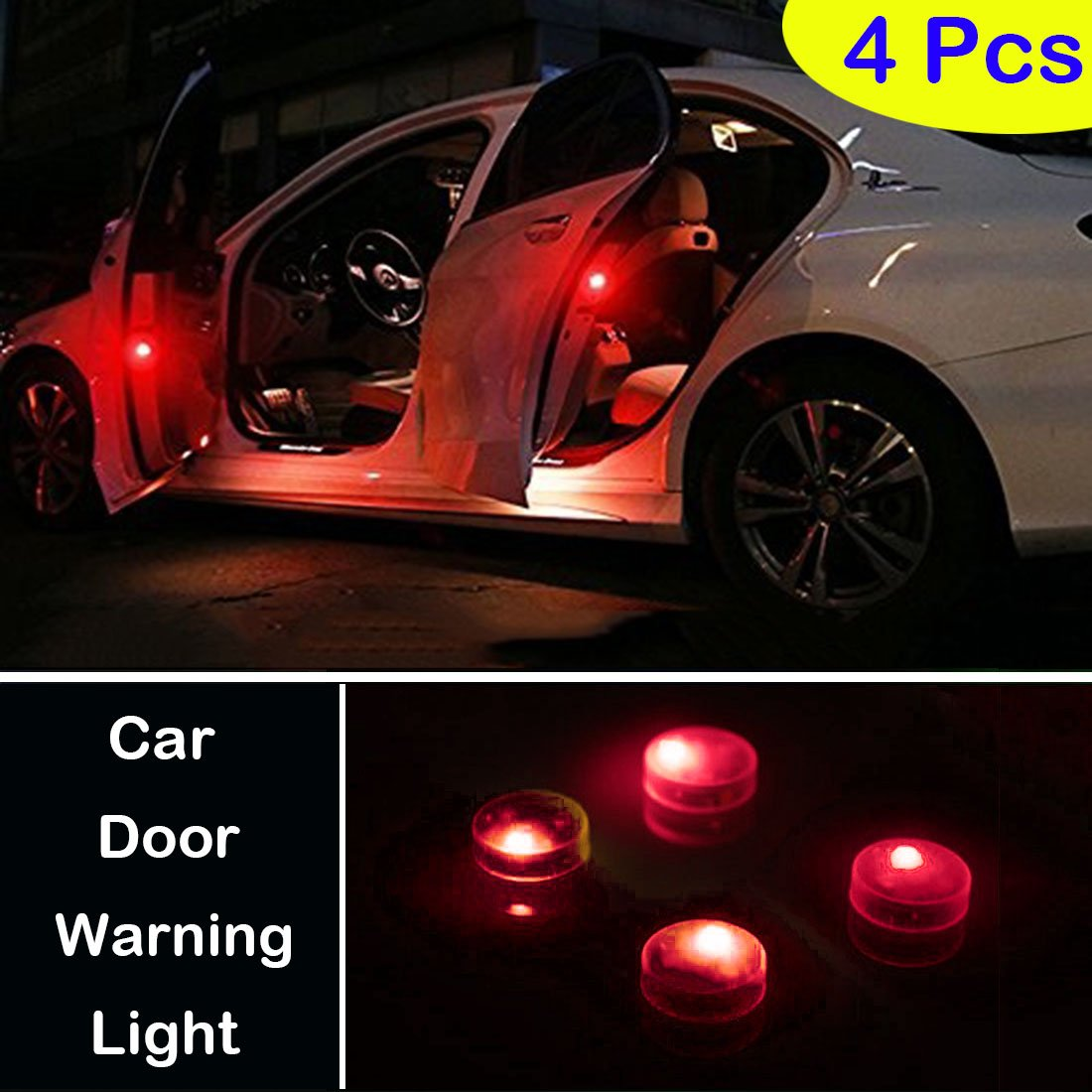Botepon 4PCS Universal Wireless Car Door LED Warning Light, Waterproof LED Strobe Flicker for Anti Rear-end Collision (Blue) 20134130222