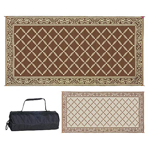Reversible Mats 119187 Outdoor Patio 9-Feet x 18-Feet, Brown/Beige RV Camping Mat (Renewed) (Hawken Smith Rugs And)