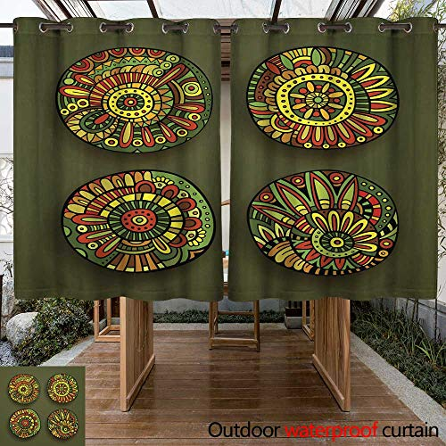 RenteriaDecor Home Patio Outdoor Curtain Vector Floral Design Elements W63 x L72