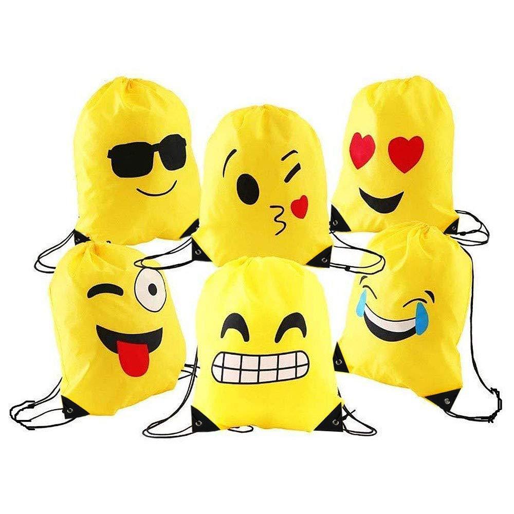 Emoji Sac à Dos Avec Cordon de Serrage,6 Poches de Cordon en Polyester Imperméables Pour Les Anniversaires des Enfants, l'école, Halloween et Noël, Le Carnaval, Les Cadeaux Pour Les Enseignants