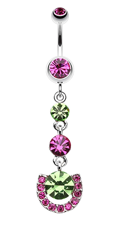 Vivacious Crystals Belly Button Ring - Sold Individually 14 GA 1.6mm