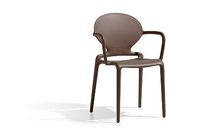 Scab design sedie gio con braccioli marrone amazon casa e