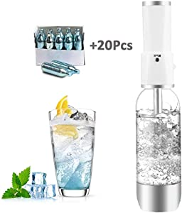 HXZB Portable Soda Maker Crystal Sparkling Water Maker with 20 Standard CO2 Cylinder for DIY Beverages Bubble Fruit Juice Cocktail Healthy Drinks