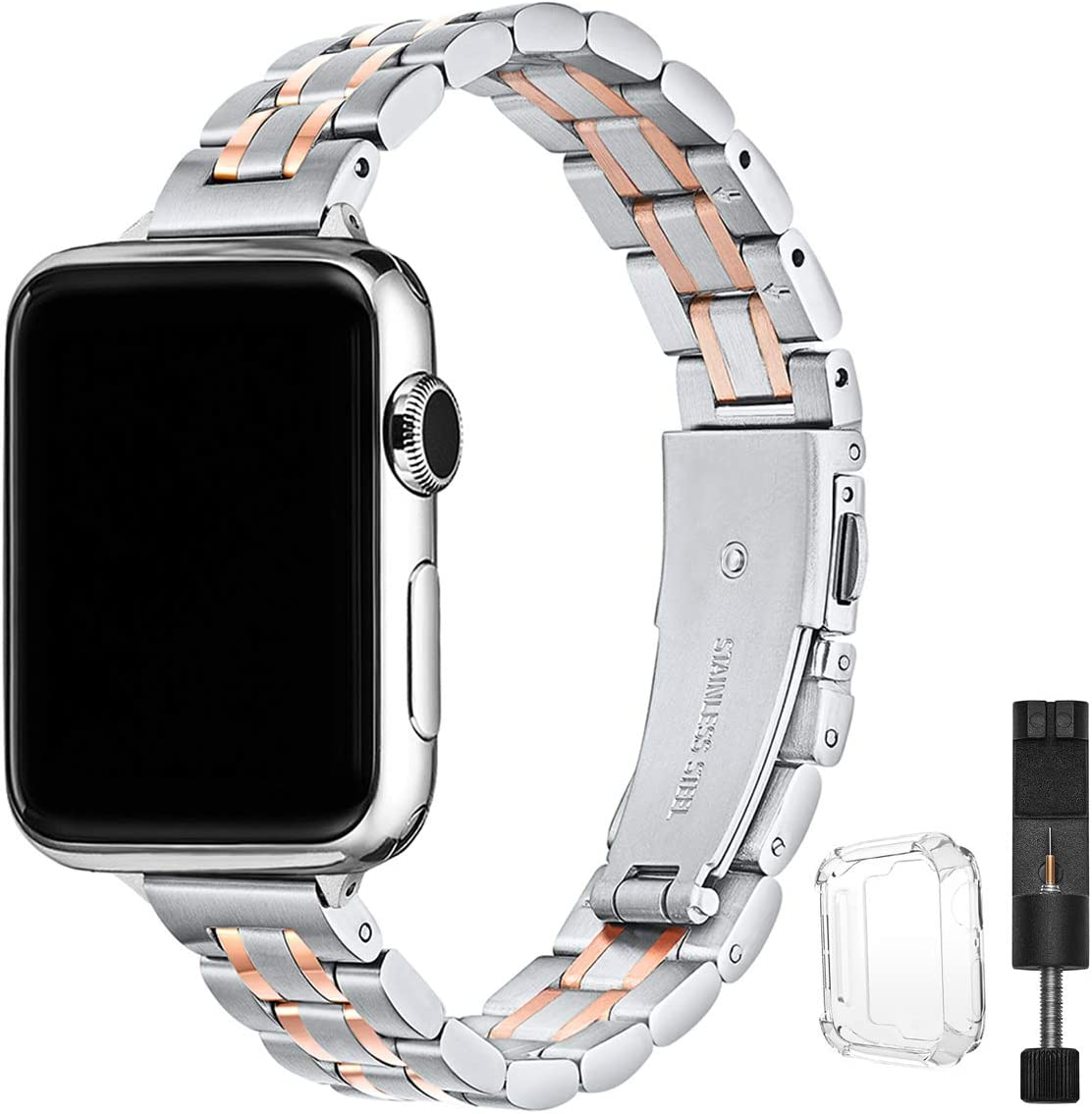 STIROLL Thin Replacement Band Compatible for Apple Watch 38mm 40mm 42mm 44mm, Stainless Steel Metal Wristband Women Men for iWatch SE Series 6/5/4/3/2/1 (Silver+Rose Gold, 42mm/44mm)