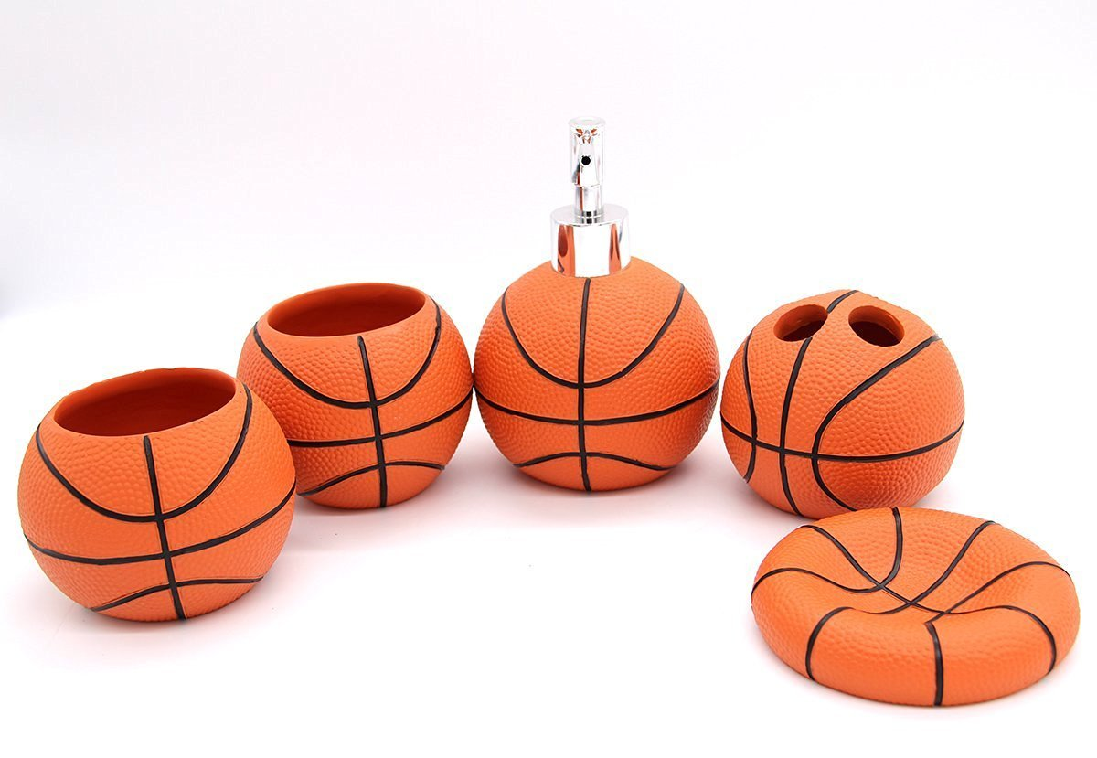 Amazon.com: Outstanding Household Basketball Bath And Shower Accessory Set  5 PCS For Kids And Basketball Fans: Home U0026 Kitchen