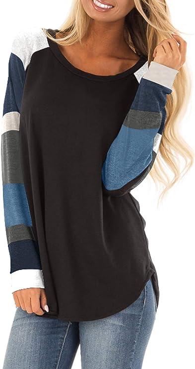 TALLA 18-20. Aslive - Camiseta de manga larga para mujer, color bloque suelto, casual, de gran tamaño, túnica
