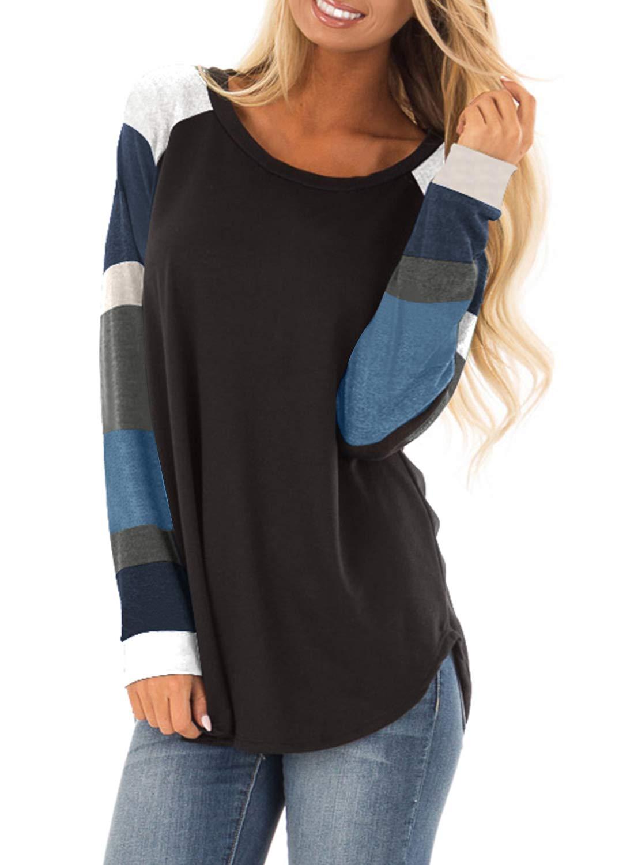 Actloe Women Casual Color Block Long Sleeve Pullover Tunic Top Loose Shirt