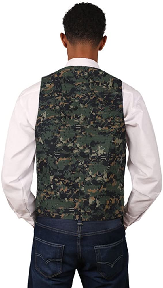 SixStarUniforms Mens Dark Camouflage Pattern Cotton Full Back Vest
