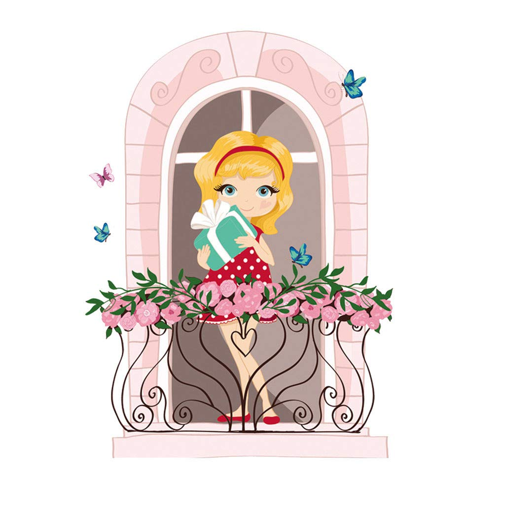 Amaping 3D Wall Sticker Kitchen Removable Sweet Heart Girl Home Art Decals Decor Wall Paper Waterproof Removable DIY Wallpaper Kids Room Wall Stickers (Colorful)