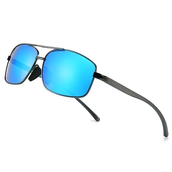 SUNGAIT Retro Rectangulares Gafas de sol Hombre Polarizadas Clásico metal Marc