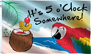 rhungift It's 5 O'Clock Somewhere Flag 3x5 Ft Sign Outdoor 100D Polyester Summer Holiday Five O'Clock Somewhere Novelty Party Parrot House Flag