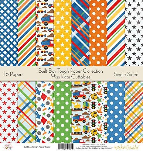 Pattern Paper Pack - Built Boy Tough - Scrapbook Card Stock Single-Sided 12