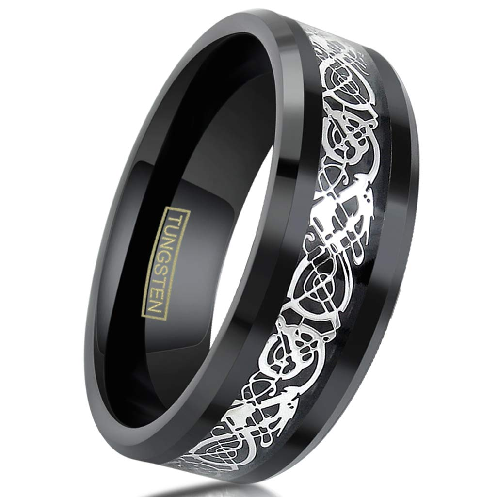 King's Cross Personalized Engraved 8mm Black Tungsten Carbide Wedding Band Wbrilliant Silver Celtic Dragon Inlay Amazon: Black Tungsten Wedding Band Cross At Websimilar.org