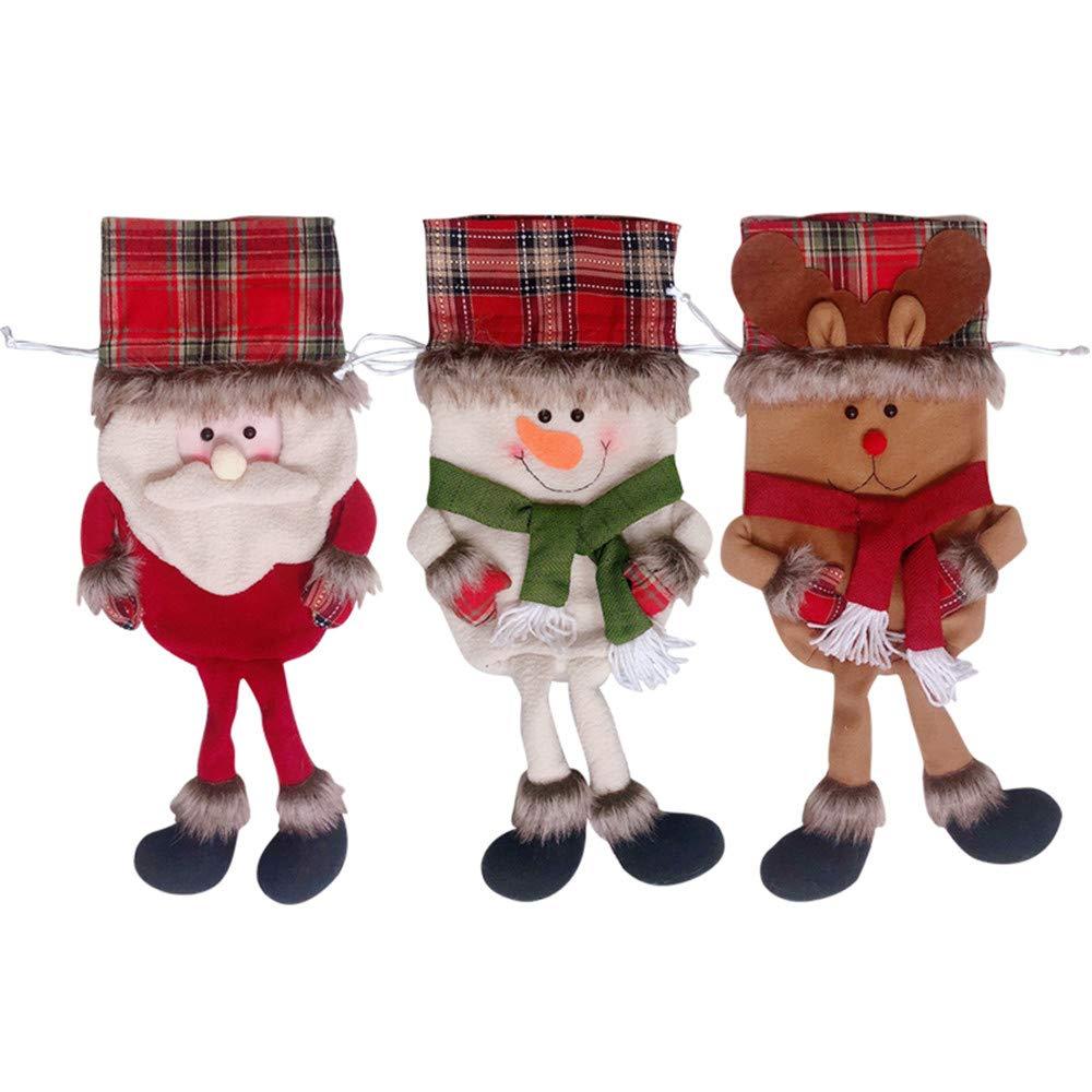 SHANDG Christmas Sweet Bag, 3 Pcs Xmas Candy Drawstring Bag Xmas Party Decoration Sack Bags