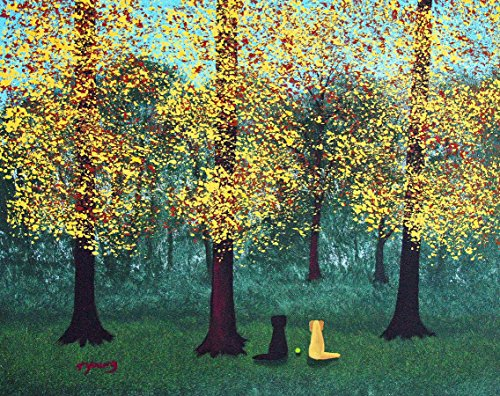Black Yellow Lab Labrador Retriever DOG LARGE Art print by Todd Young EARLY FALL