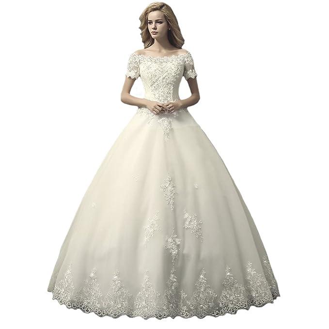 Engerla - Vestido de novia - trapecio - Floral - Manga Corta - Mujer Dorado Champán