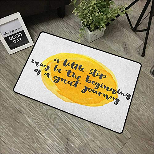- Hall mat W35 x L59 INCH Quote,Positive Saying with Watercolor Monochrome Background Brush Strokes, Earth Yellow Charcoal Grey Easy to Clean, Easy to fold,Non-Slip Door Mat Carpet