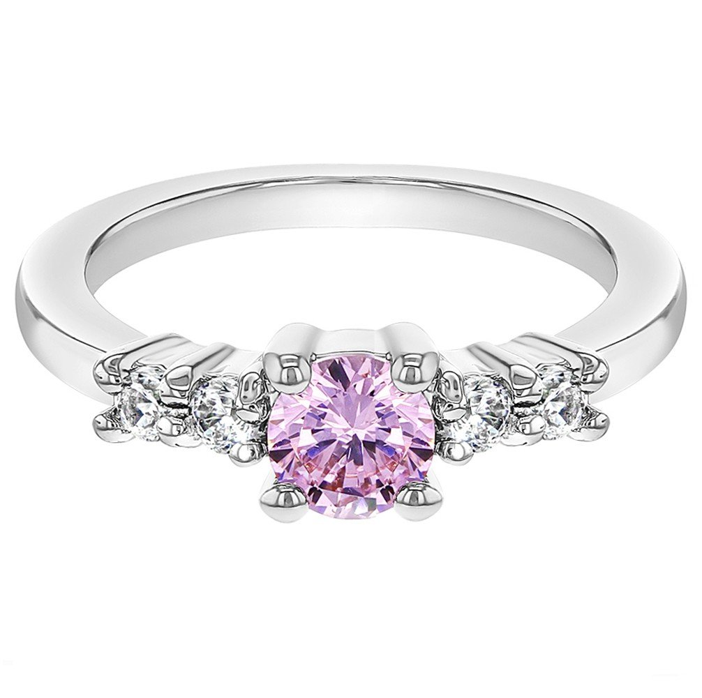 In Season Jewelry Rhodium Plated Small Clear Pink Crystal Toddler Baby Girl Ring