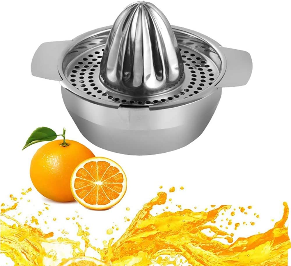 Citrus Lemon Orange Juicer with Strainer Container, Manual Citrus Juicer Hand Press Stainless Steel Hand Squeezer for Home Made Juice