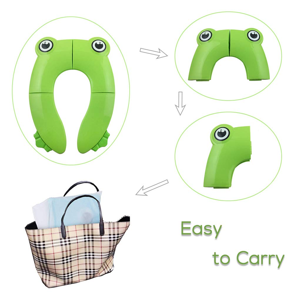 Galaxer Foldable Potty Toilet Training Seat Portable Travel Toddler Toilet Seat PP Material with 4 Anti Slip Silicon Pads and 1 Carry Bag Prevent Germs Spread Foldable Seat, Blue